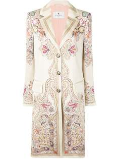 Etro атласное пальто с принтом пейсли