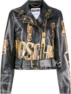 Moschino байкерская куртка с принтом Macro Biker
