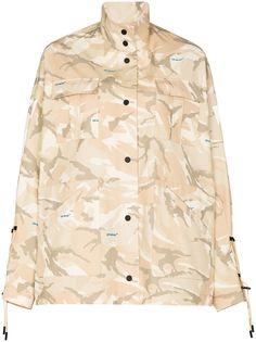 Off-White куртка в стиле милитари с камуфляжным принтом