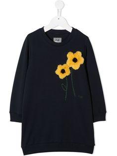 Il Gufo платье-толстовка с цветочной аппликацией