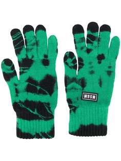 MSGM трикотажные перчатки с узором тай-дай