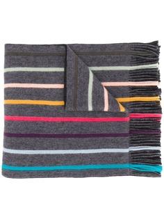 PAUL SMITH полосатый шарф с бахромой
