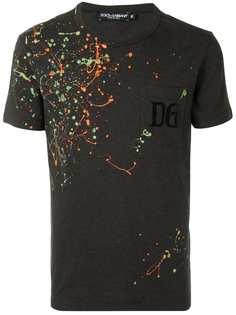 Dolce & Gabbana футболка с эффектом разбрызганной краски и круглым вырезом