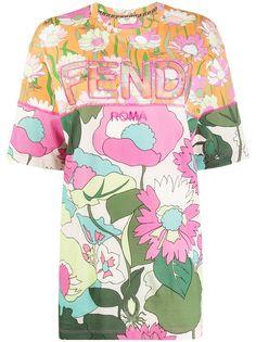 Fendi футболка со вставками и цветочным принтом