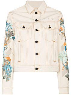 Off-White джинсовая куртка с цветочным принтом