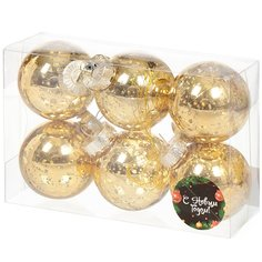 Елочный шар золото SYQD-011978G, 6 шт, 6 см