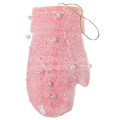Елочная игрушка Варежка SYPM-1219160 розовая, 8х15 см