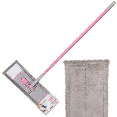 Швабра плоская, черенок 130 см, Марья-Искусница HD1009 C-mic-15-1912 насадка из микрофибры 43х14 см Розовая дымка