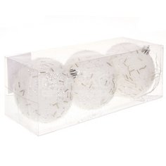 Елочный шар белый SYQB-0120126, 3 шт, 8 см