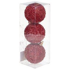 Елочный шар красный SYQD-012255, 3 шт, 8 см