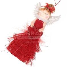 Елочная игрушка Ангел SYTS-4319114 красный, 13 см