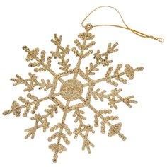 Елочная игрушка Снежинки SYLKL-4919155 золото, 3 шт, 12 см