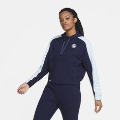Женская укороченная футбольная худи с молнией на половину длины Chelsea FC Nike