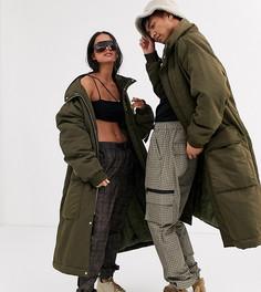 Удлиненная дутая куртка Reclaimed Vintage-Зеленый