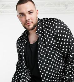 Черная атласная рубашка классического кроя в белый горошек ASOS DESIGN Plus-Черный