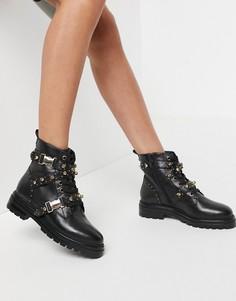 Черные кожаные ботинки с пряжками и золотистыми клепками Steve Madden Indra-Черный