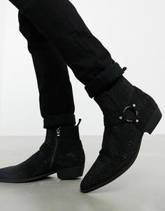 Черные ботинки челси в стиле вестерн на кубинском каблуке из искусственной замши с отделкой стразами ASOS DESIGN-Черный