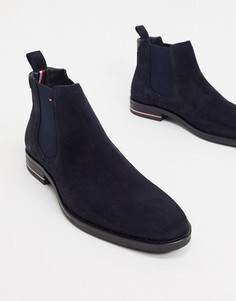 Замшевые ботинки челси темно-синего цвета с логотипом Tommy Hilfiger-Темно-синий