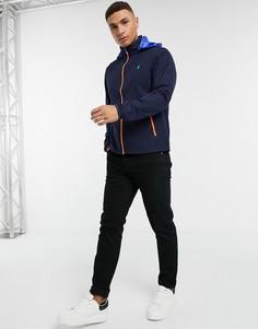 Темно-синяя складная куртка-дождевик с контрастным капюшоном с логотипом Polo Ralph Lauren-Темно-синий