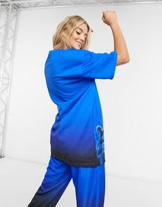 Синяя oversized-футболка от комплекта с принтом Bershka x Billie Eilish-Синий