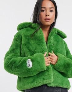 Зеленая короткая шуба из искусственного меха с воротником и карманами Jakke-Зеленый