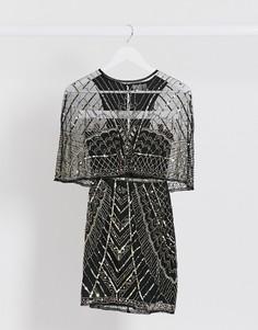 Платье мини с кейпом и отделкой ASOS DESIGN-Мульти