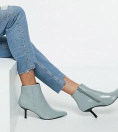 Голубые ботинки на широкую стопу на каблуке с острым носком ASOS DESIGN Wide Fit Reunite-Синий