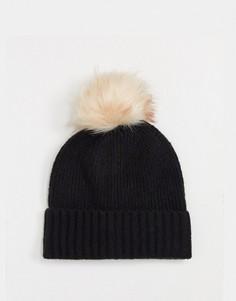 Черная шапка с добавлением шерсти Pieces-Черный
