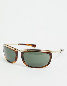 Солнцезащитные угловатые очки в коричневой черепаховой и золотистой оправе в стиле ретро Rayban-Мульти