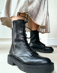 Черные массивные байкерские ботинки на шнуровке и молнии Bershka-Черный