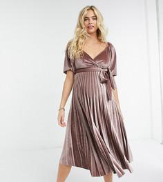 Плиссированное бархатное платье миди для беременных потемневшего розового цвета с запахом и пышными рукавами ASOS DESIGN Maternity-Розовый
