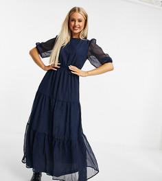 Ярусное платье макси темно-синего цвета Missguided-Темно-синий