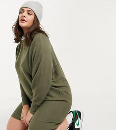 Трикотажное платье цвета хаки с широкой горловиной Noisy May Curve-Зеленый