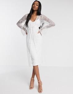 Белое платье миди с кружевной отделкой ASOS DESIGN-Белый