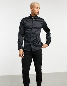 Атласная рубашка скинни черного цвета с цепочкой на воротнике Twisted Tailor-Черный