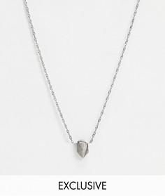 Серебристое ожерелье-цепочка с подвеской с полудрагоценным камнем Reclaimed Vintage inspired эксклюзивно для ASOS-Серебряный