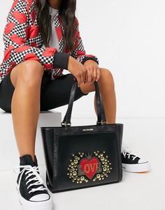 Черная сумка-тоут с заклепками Love Moschino Full Of Love-Черный