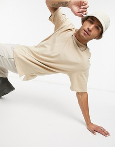 Бежевая футболка в стиле oversized Bershka-Светло-коричневый
