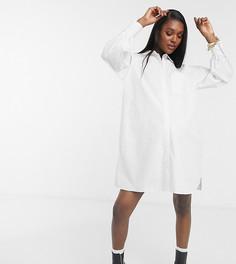 Белое платье-рубашка мини в стиле oversized boyfriend из хлопкового поплина ASOS DESIGN Maternity-Белый