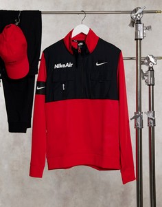 Флисовый свитшот красного цвета с короткой молнией Nike Air-Черный