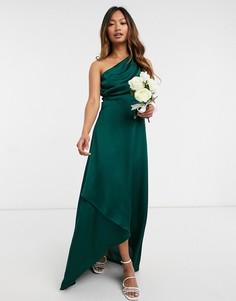 Зеленое платье макси на одно плечо TFNC Bridesmaid-Зеленый