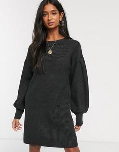 Платье-джемпер мини с пышными рукавами M Lounge-Черный