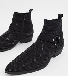 Черные ботинки-челси в стиле вестерн на кубинском каблуке из искусственной замши для широкой стопы с ремешком и отделкой стразами ASOS DESIGN Wide Fit-Черный