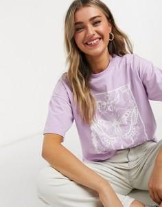 Лавандовая oversized-футболка с мистическим принтом бабочки ASOS DESIGN-Фиолетовый