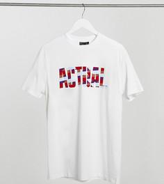 Футболка с цветным флок-принтом и логотипом ASOS Actual Tall-Белый