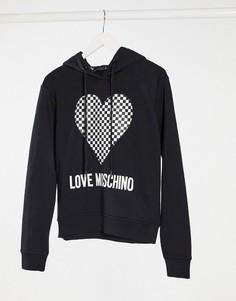 Черное худи с принтом в виде сердца и шахматным узором Love Moschino-Черный