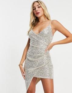 Серебристое платье мини с запахом, эффектом металлик и отделкой пайетками I Saw It First-Серебряный