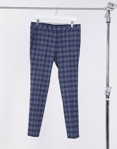 Синие зауженные брюки в клетку Topman-Синий