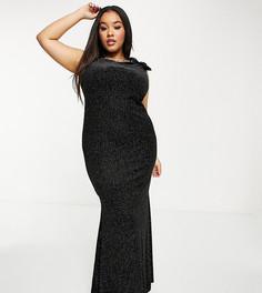 Черное платье макси с высоким воротом и юбкой годе Goddiva Plus-Черный