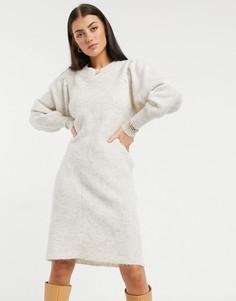 Кремовое трикотажное платье с объемными рукавами Selected Femme-Бежевый